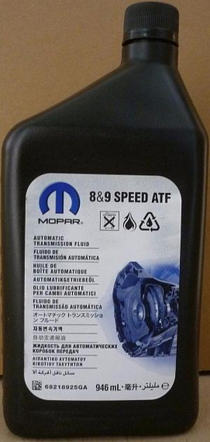 Объем 0,946л  Трансмиссионное масло MOPAR ZF 8 & 9 speed ATF